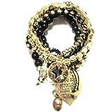 CAT HAMMILL ( キャットハミル )  heart bracelet black gold  ハート チャーム ブレスレットセット  ブラック ゴールド