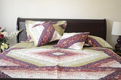 DaDa Bedding DXJ100422 Floral Garden Cotton Patchwork 5-Piece Quilt Set
