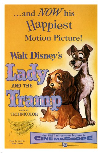 Walt Disney's Lady and the tramp MOVIE POSTER 1955 24X36 VINTAGE CARTOON (reproduction, not an original) 0