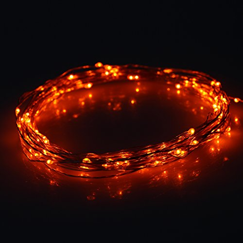 Newstyle 33Ft 10M Copper Led Lights Strings 100 Leds On Copper Wire 33Ft Led Starry Light With 12V Power Adapter For Christmas Wedding And Party (Orange)