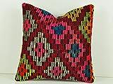 Organic Home Decor Turkish Kilim Pillow Cover, Decorative Pillows, 16x16 Kilim Cushions, Cream Pillow