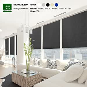 casa pura® Verdunkelungsrollo mit drei flexiblen Befestigungsarten in neun Größen | Schwarz | 110x150cm