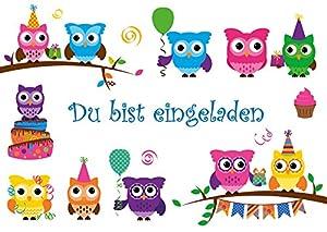 lustige Eulen-Einladungskarten (10645) zum Kindergeburtstag oder zur ...