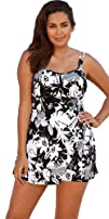Beach Belle Techno Floral Plus Size Lingerie Swimdress Womens