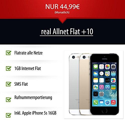 """Apple iPhone 5s 16GB - Verschiedene Farben, ohne Simlock - real Allnet Flat +10 - Handyvertrag - Handy Vertrag - Handy Smartphone - Allnet Flat - Rufnummerportierung - Rufnummermitnahme Möglich - Flatrate alle Netze - 1 GB Internet Flatrate - SMS Flat - 8,0 Megapixel-Kamera - A7 64-Bit - 4"""" Retina-Display - 16 GB Speicher - iOS 7, iCloud, Siri - NUR 1 EUR Zuzahlung - NUR 44,99 EUR / mtl."""