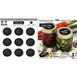 Chalky Talky 40 Regular Mouth Mason Jar Lid Reusable Chalkboard Canning Labels - Wide Mouth Available Too