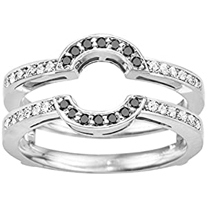 Black Diamond Round Shaped Classic Style Halo Wedding Ring Guard Set In Sterling Silver (0.38 Ct. Twt.)