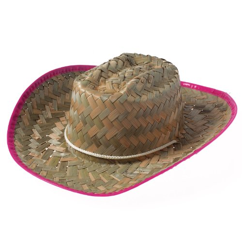 US Toy - Company Girl Cowboy Hat With Pink Trim, Made of Straw