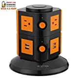 Bestten Smart Power Strip Tower - 4-Port USB Charger - 6-Outlet Power Strip - Surge Protector w/Overload Protection - Home or Office - 6' Cord