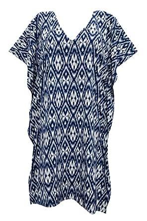 Amazon.com: Suzie Kaftan Womens Tunic Blue Ikat Printed Caftan Tops M