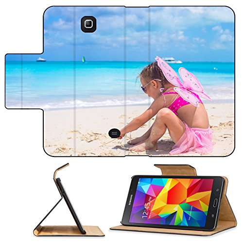 [Luxlady Premium Samsung Galaxy Tab 4 7.0 Inch Flip Pu Leather Wallet Case IMAGE ID: 34567273 Adorable little girl with wings like butterfly on beach] (Gumdrop Fairy Costume)