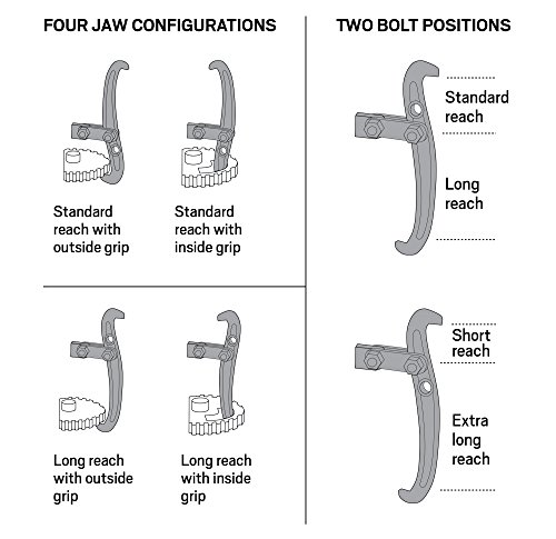 3 Jaw Steering Wheel Puller : Tekton inch jaw gear puller