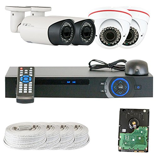 Best Sale High End Professional 4 Channel Hdcvi Dvr Security Camera System With 4 X1/2.9 Hdcvi Color Ir Cctv Security Camera, 1.0Mega Pixel Color Cmos, 2.8-12Mm Manual Focus Lens. One Is 42Pcs Infrared Led, 98 Feet Ir Distance And One Is 36Pcs Infrared Le