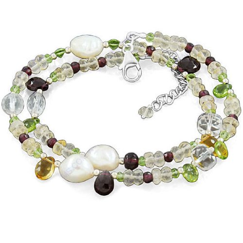 925 Sterling Silver Natural Multi Gemstone South Sea Pearl Garnet Peridot Beads Strand 18 Inches Necklace Jewelry