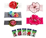 NewBorn, Baby, Bundle Monster 5pc Baby Cotton Stretch Pretty Rose Tulip Flower Hair Headband Mixed Color Lot for Girls / Fits 0-4 yrs Toddler- Set 1 New Born, Child, Kid