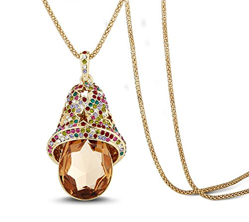 The Starry Night Sweeter the Bells Theme Colorful Diamond Accented Star Cat Brown Crystal Drop Necklace