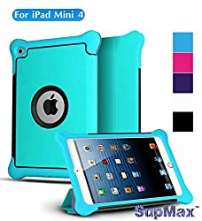 iPad Mini 4 Case,iPad Mini 4 Cover,SupMax™ *Upscale Silk Leather* Kids Proof Shock Proof With Silicone+PC [Perfect Fit] Auto Wake Up/sleep Folio Stand Case Cover for Apple iPad Mini 4 (Blue)