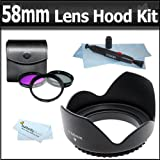 58mm Bundle Hard Lens Hood & 3 Piece (UV/FLD/CPL) Glass Filter Set for Canon EF 75-300mm f/4-5.6 III, USM & EF-S 55-250mm f/4.0-5.6 IS Zoom Lens (with EOS 50D, 7D, Rebel XSi, XS, T1i, T3i, T3, T2i Digital SLR Camera) + Lens Pen Cleaning Kit + More