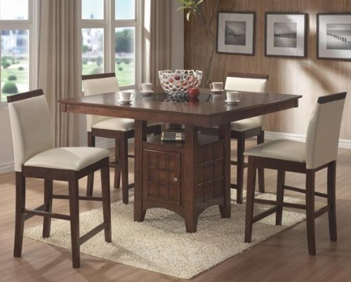 Square Counter Height Dining Table Set COAS101558 101559 5PC Dining