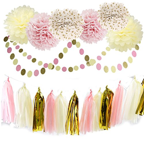 furuix 20pcs pink cream gold polka dot seidenpapier pom pom quaste girlande tissue party paper. Black Bedroom Furniture Sets. Home Design Ideas