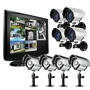 Zmodo 8CH H.264 19'' LCD Monitor Built-in DVR System with 1TB & 8 Sony CCD Indoor/Outdoor IR Cameras