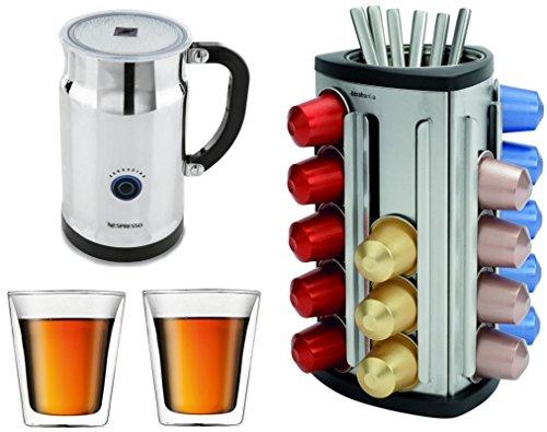 Nespresso Aeroccino Plus with Bonus 30 Capsule Carousel and 2 Bodum 6 Ounce Canteen Mugs (Nespresso 3192 compare prices)