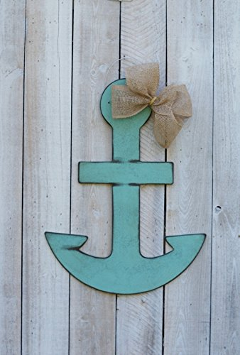 "Antique Turquoise Anchor Door Hanger with Burlap Bow. 26"" H X 19.5"" W."