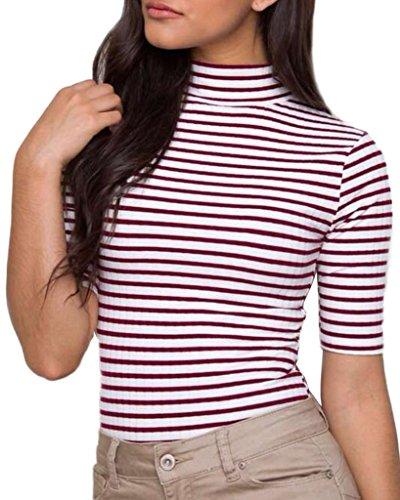 Minetom Donna Estate Autunno Metà Maniche T-shirt In Piedi Collare Strisce Sottile Top Camicie Caffè IT 46