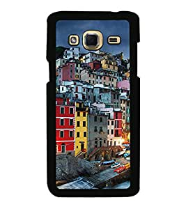 Fuson Premium 2D Back Case Cover Bulidings With red Background Degined For Samsung Galaxy J3::Samsung Galaxy J3 J300F