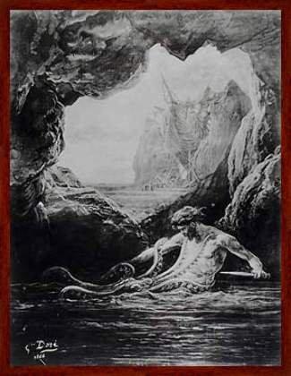 "Bild mit Rahmen: Gustave Dore, ""Gilliatt struggles with the giant octopus, illustration from 'Les Travailleurs de la Mer' by Victor Hugo (1802-85) 1866"", 61 x 80 - Holz Markant: Dunkelbraun"