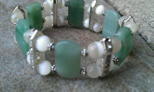 Jade Glass Bead Double Rhinestone Bracelet - Adult Size Regular 8.25 Inches