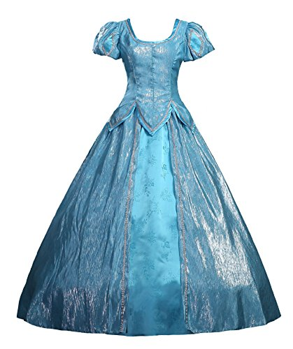 Cosrea Disney Little Mermaid Ariel Blue Satin Dress Adult Cosplay Costume