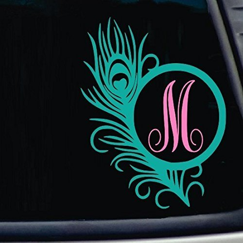 Single Letter Peacock Feather Decal. Choose the color and size. Perfect for car windows, Yeti cups, computer case, water bottle, etc.