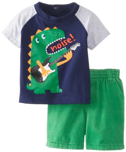 Kids Headquarters Baby-Boys Newborn Crew Neck Tee With Shorts, Navy, 6-9 Months front-973066
