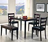 5pc Dining Dinette Table, Chairs and Bench Set Cappuccino Finish Coaster 150232