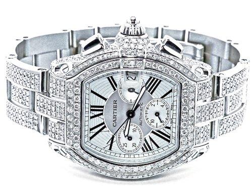 Di un Cartier Roadster XL-Orologio da uomo con diamanti w62019 15 x 24 carati