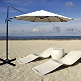 OUTT 10' Outdoor Patio Garden Luxury Cantilever Umbrella Sunhade & Stand Cream Color