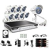Sistema de Seguridad Zmodo KHI8-YARUZ8ZN-1T H.264 960H DVR de 8 canales con un disco duro de 1TB HD  Y 8 cámaras 700TVL IR,  blanco