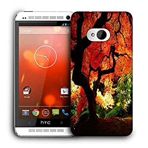 Snoogg Red Leaves In Trees Printed Protective Phone Back Case Cover For HTC One M7