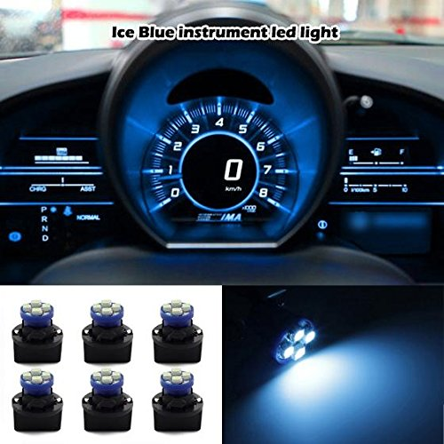 Partsam 6 Pack PC194 Led instrument Panel Dash Ice Blue Light Bulb Twist Lock Socket (2000 Ford Mustang Dash compare prices)