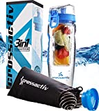 Blue Crossactiv Premium 3 in 1 32oz Hydrasystem Infuser Water Bottle - Unique Design! Use as a BPA Free Leak proof Water Bottle, 32oz Fruit Infused Bottle or Protein Shaker Sports Mixer + FREE Bag!