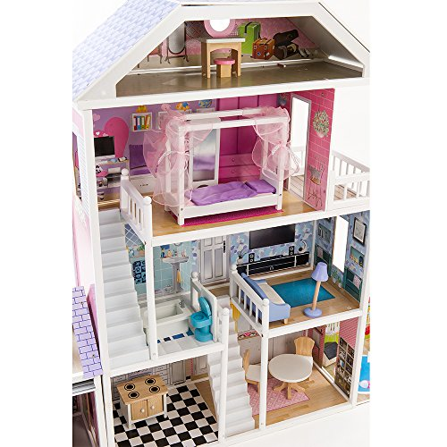 Mamakiddies barbie bambole in legno casa 17 mobili for Piani casa ranch con 3 box auto