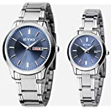 EYKI 8598 Couple Watches Quartz Waterproof Wristwatches for Lovers Pair in Package Blue Dial and Stainless Steel Band