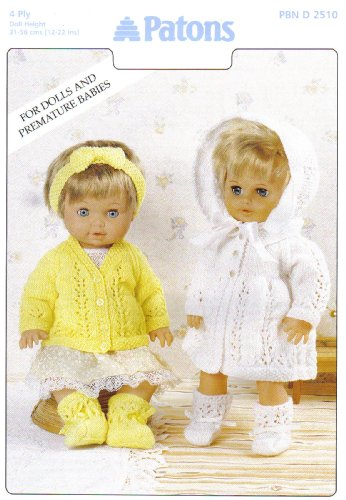"Patons Dolls Clothes and Premature Babies Outfits Knitting Pattern 2510: Cardigan Set, Matinee Set: Cardigan, Bootees, Hairband, Coat, Bonnet (To fit doll 12""-14"" 15""-18"" 19""-22"" - 31cm-56cm)"
