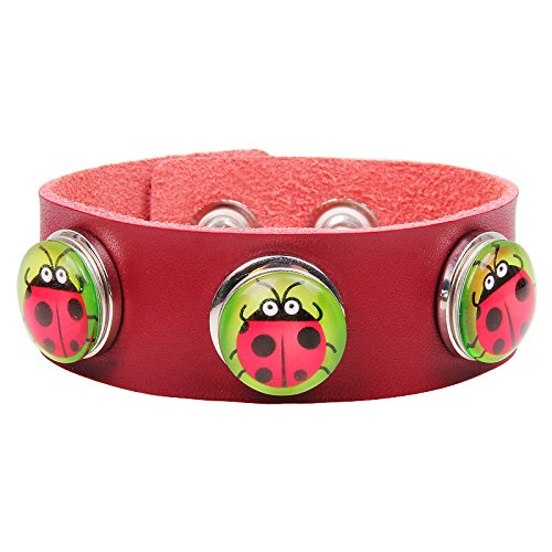 Modern Fantasy Clever Insect Multi Color Mixing Metal Buttons Leather Press Adjustable Wrap Bracelet (red)