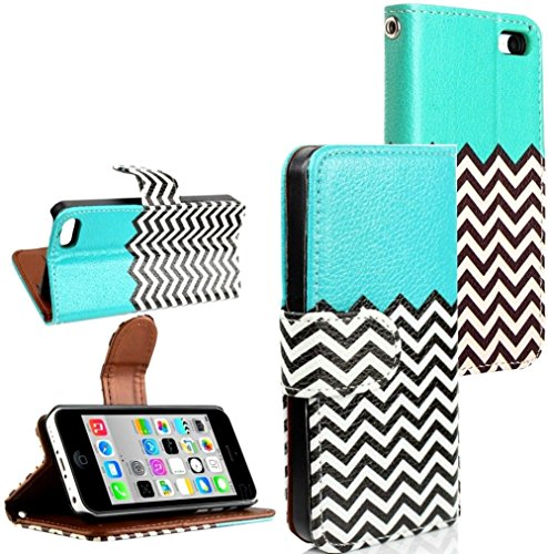 Mylife Electric Blue And Chevron Design - Textured Koskin Faux Leather (Card And Id Holder + Magnetic Detachable Closing) Slim Wallet For Iphone 5/5S (5G) 5Th Generation Smartphone By Apple (External Rugged Synthetic Leather With Magnetic Clip + Internal