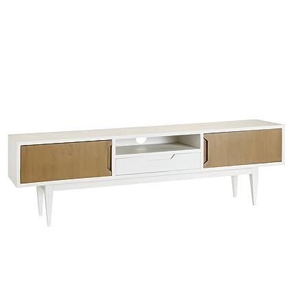 Mueble de TV de 1 cajón y 2 puertas nórdico blanco de madera para salón Fantasy