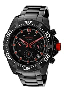 Men's Racer Chrono Black Dial Red Accents Black Ion Plated Stainless Steel Men's Racer Chrono Black