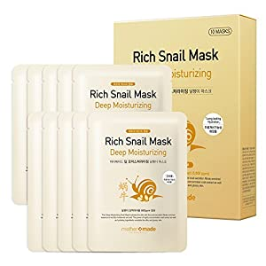 mothermade® Deep Moisturizing Rich Snail Facial Mask 10 individually packaged bundle - 100% cotton Cupra sheet, Anti-aging, Anti-Wrinkle, Deep Hydration, Snail Secretion Filtrate (5,000 ppm)