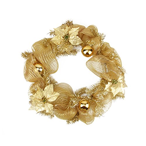 """22"""" Pre-Lit & Pre-Decorated Gold Deco Mesh Tinsel Artificial Christmas Wreath - Clear Led Lights"""